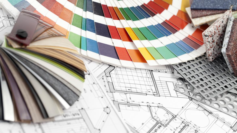 Paleta de colores muestras de PVC para decoración, piedra artificial y planos arquitectónicos