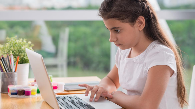 Nila estudiando con el ordenador