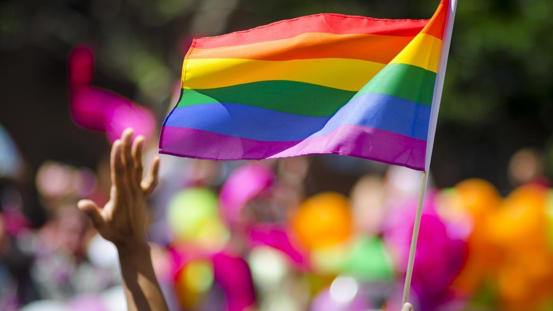 Una bandera LGTBI+ ondeando en una manifestación