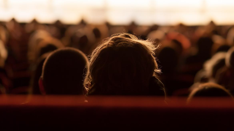 Unos espectadores vistos desde atrás mientras miran un espectáculo