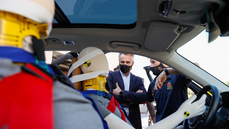 Carlos Novillo en una jornada de seguridad vial en el Parque de Bomberos de Alcobendas