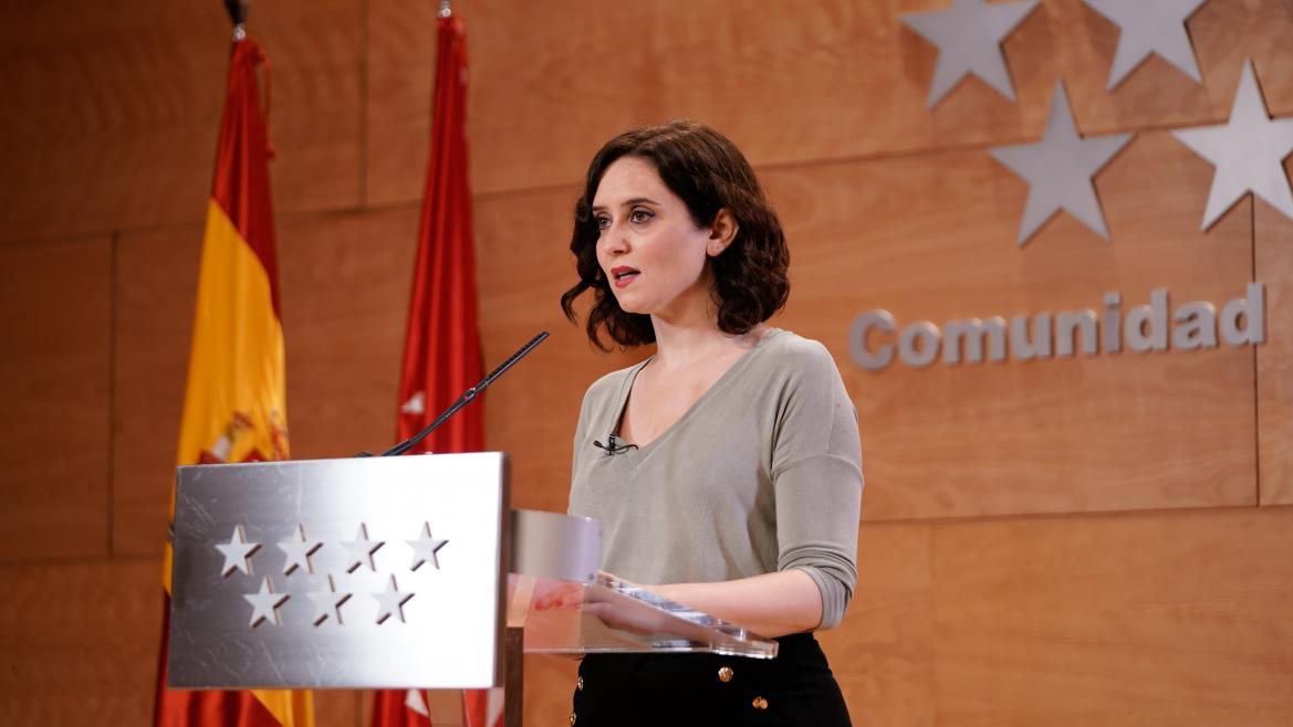 Isabel Díaz Ayuso realiza una comparecencia pública