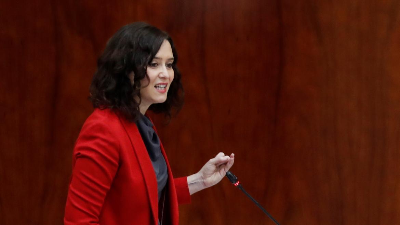 Isabel Díaz Ayuso durante su intervención en el Pleno de la Asamblea de Madrid