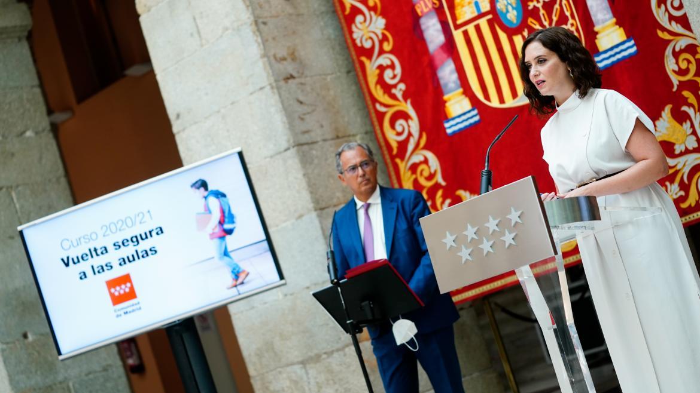 Isabel Díaz Ayuso durante la presentación de la estrategia para el inicio de curso escolar 2020/21