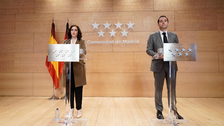 Isabel Díaz Ayuso e Ignacio Aguado durante la presentación del Plan Recuperación COVID19