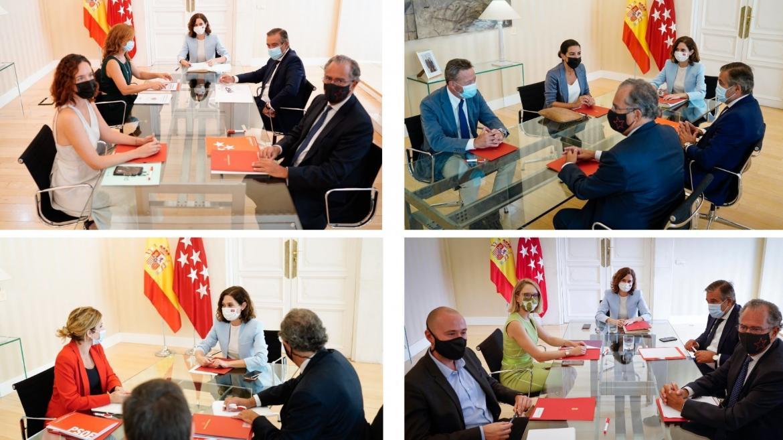 Collage con cuatro fotografías cada una correspondiente a la reunión de la Presidenta con los diferentes portavoces