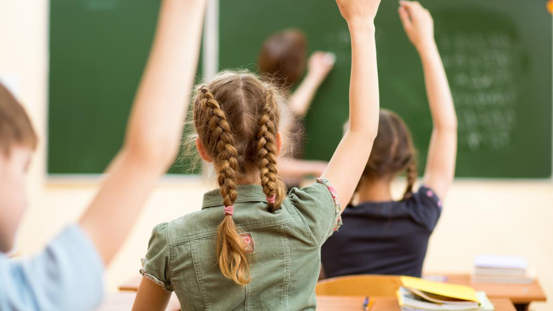 Una clase vista desde atrás con los alumnos con las manos levantadas por una pregunta del profesor