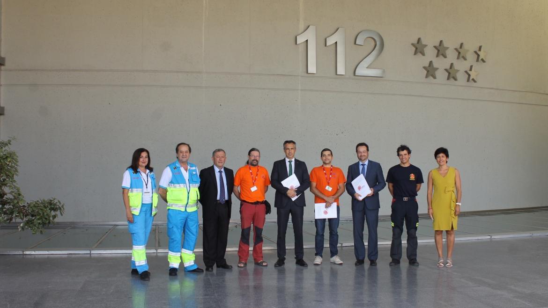 Firmantes del acuerdo con participación de Bomberos de la Comunidad de Madrid, SUMMA112 y especialistas espeleólogos