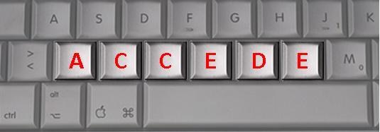 Palabra accede formada con las letras de un teclado