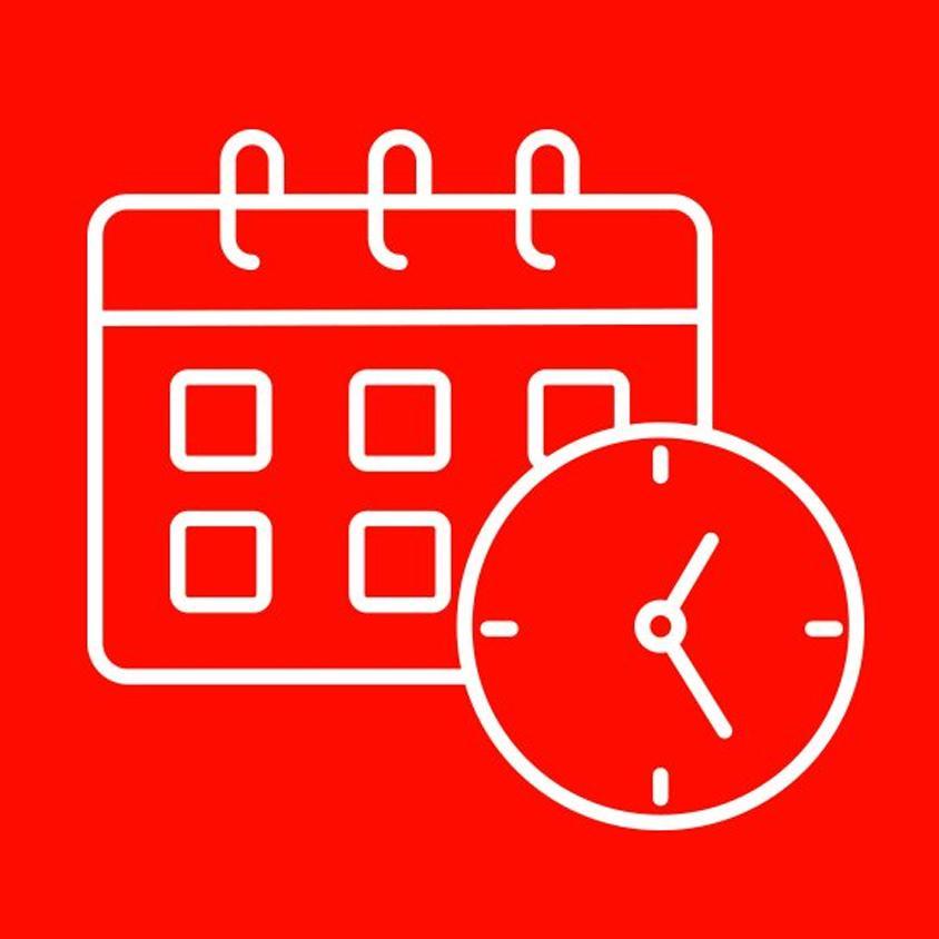 Dibujo de un calendario y un reloj