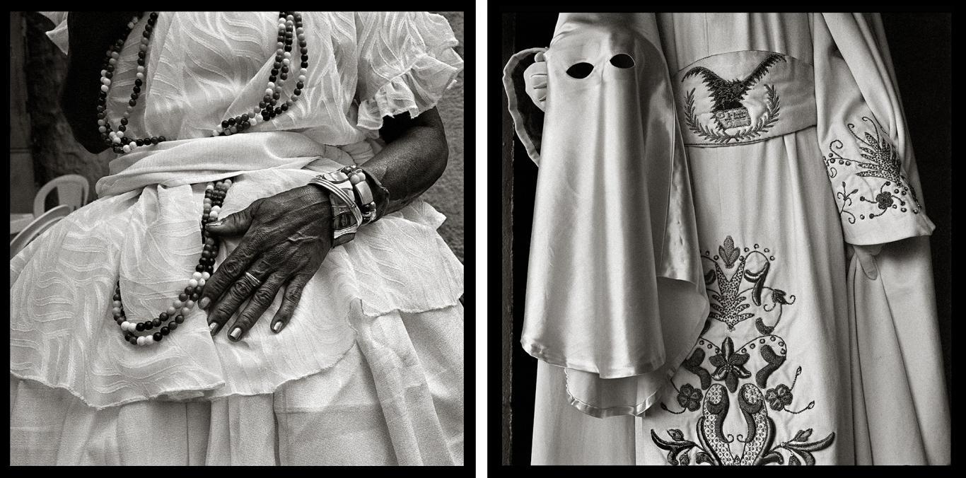 Dos fotografías enfrentadas: a la izquierda mujer cubana vestida de santera y, a la derecha, persona vestida de nazareno. Ambos trajes son blancos