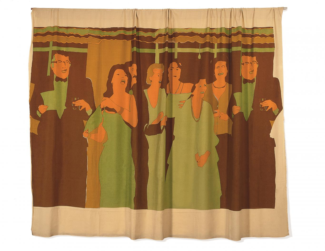Cortina con dibujo en los que se retratan a un grupo de hombres y mujeres en una fiesta