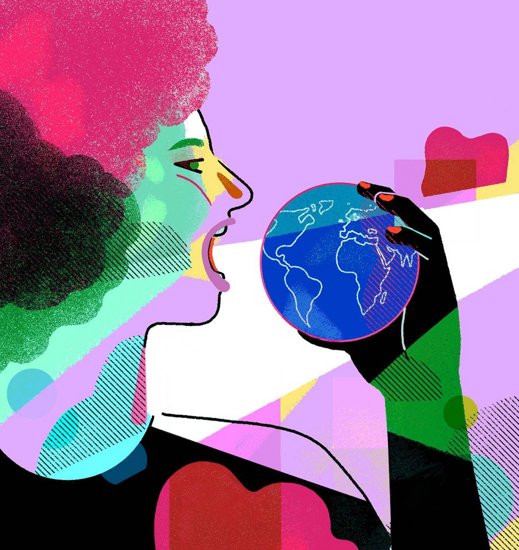 Dibujo de una mujer comiéndose el mundo