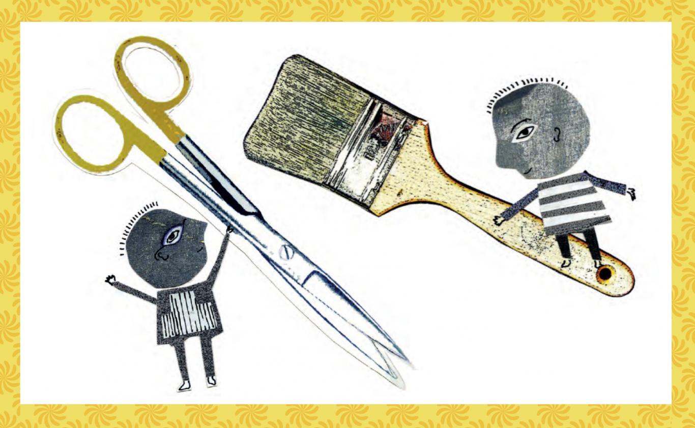Dos personajes infantiles, uno lleva una brocha y el otro un peine