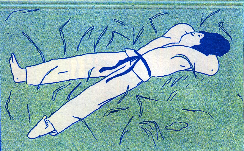 Dibujo de una mujer tumbada en el suelo en tonos azules y verdes