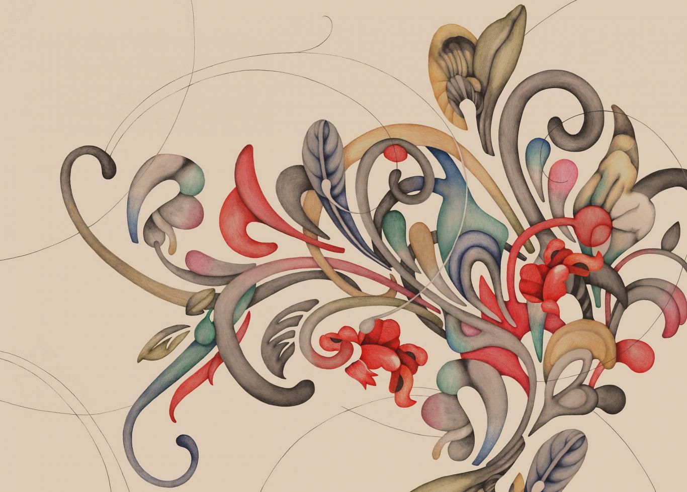 Dibujo de unos roleos a modo de plantas