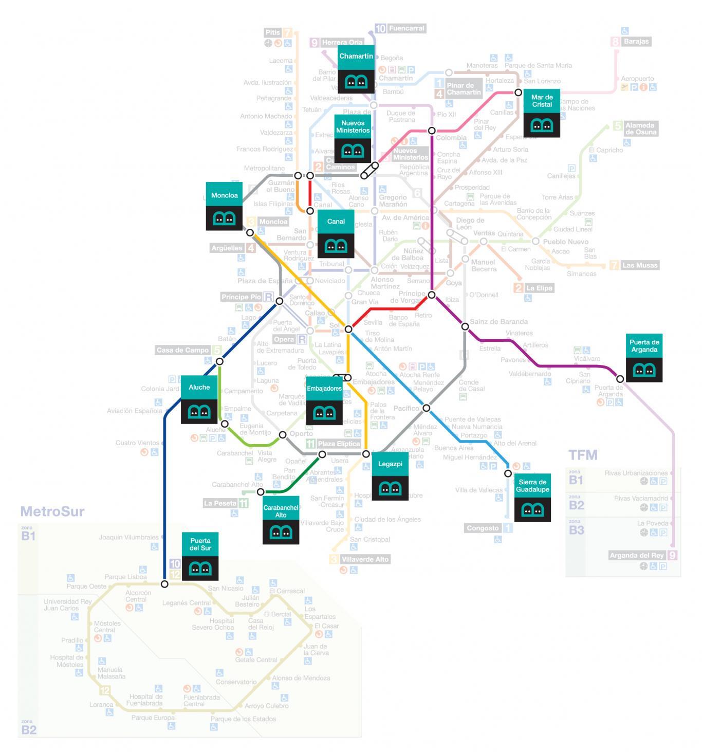 Bibliometros en el mapa de Metro