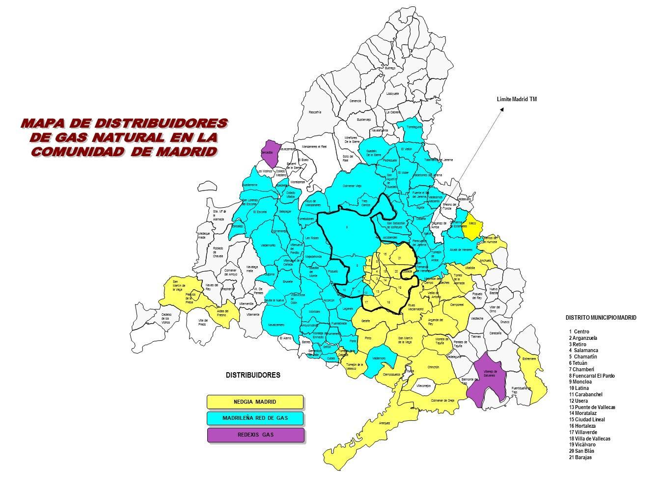 MAPA DE DISTRIBUIDORES DE GAS NATURAL POR MUNICIPIOS
