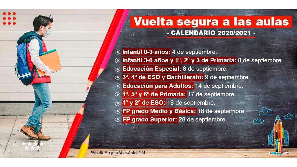 infografía recomendaciones Vuelta segura a las aulas: calendario