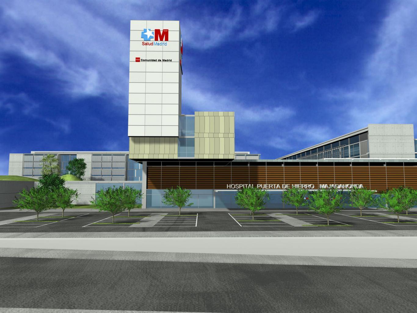 Hospital Puerta de Hierro visto desde el aparcamiento