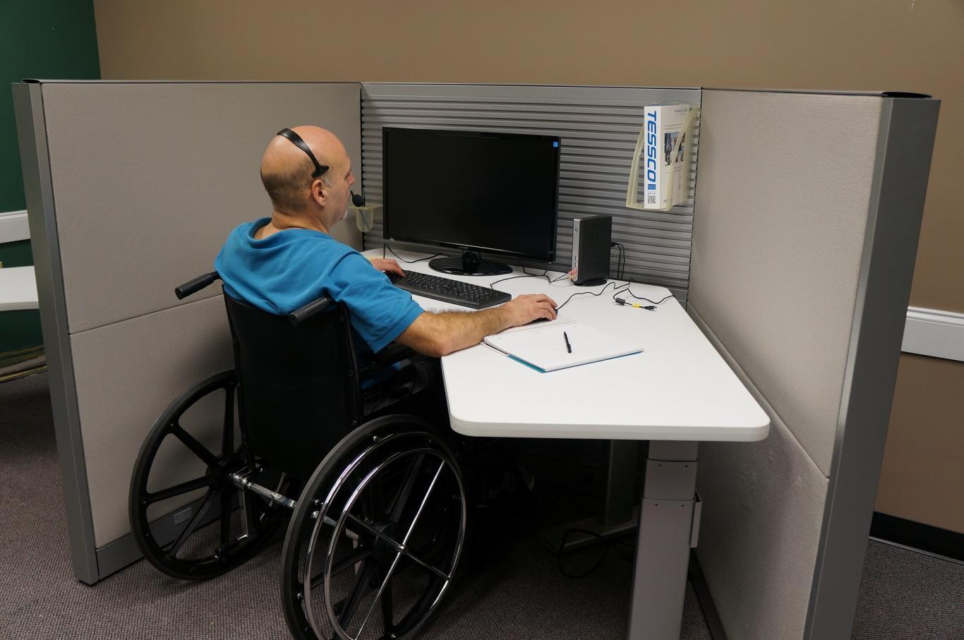 Trabajador en silla de ruedas, trabajando con un ordenador