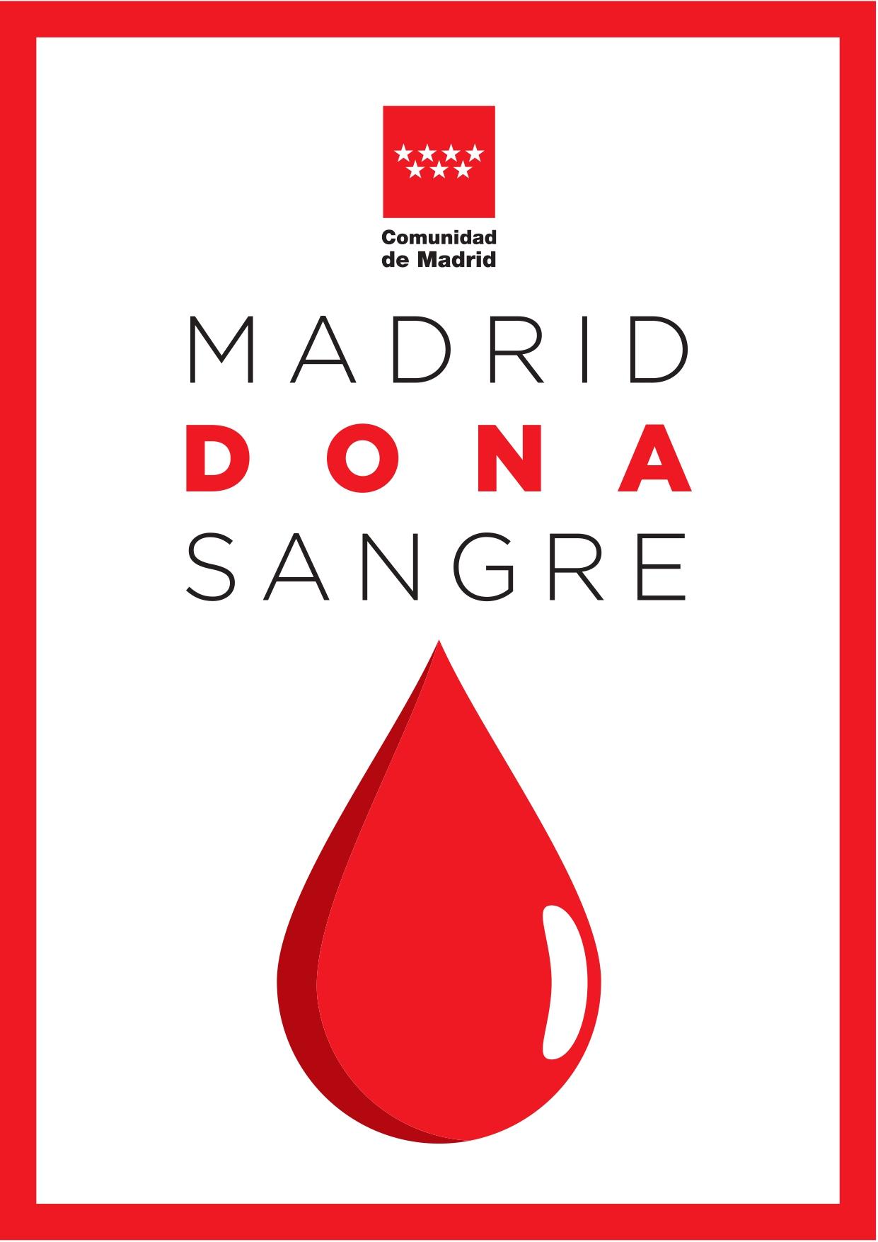 Cartel con una gota gigante y lema Madrid Dona sangre
