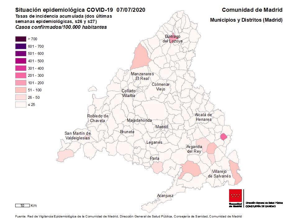 Mapa de TIA casos confirmados por municipios y distritos de Madrid