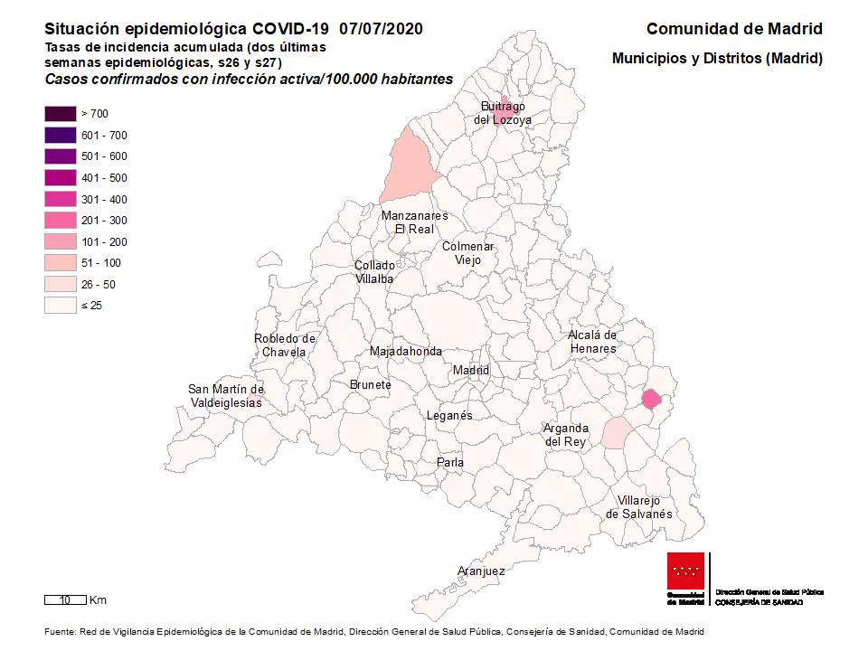 Mapa de TIA casos activos por municipios y distritos de Madrid