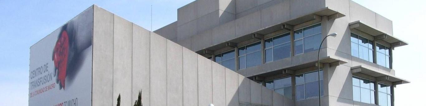 fachada del centro de transfusión de la Cómunidad de Madrid