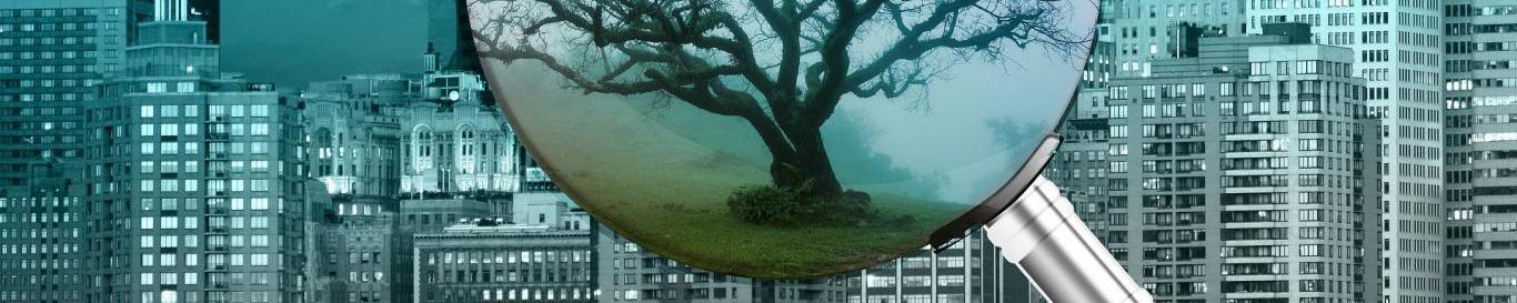 imagen de una lupa sobre fondo de un paisaje urbano