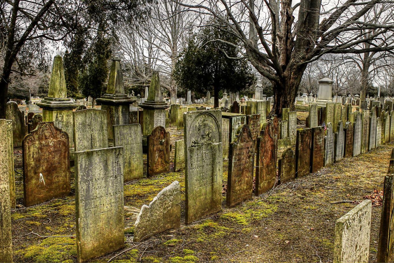 Paseo a través de un cementerio abierto