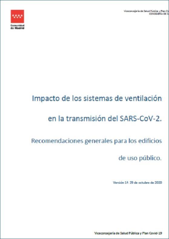 Portada de la publicación Impacto de los sistemas de ventilación en la transmisión del SARS-CoV-2