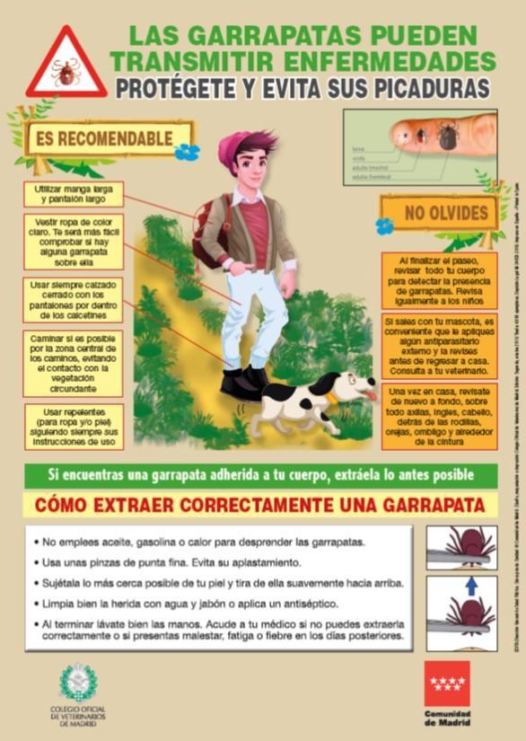 Portada del cartel Las garrapatas pueden transmitir enfermedades, 2ª edición