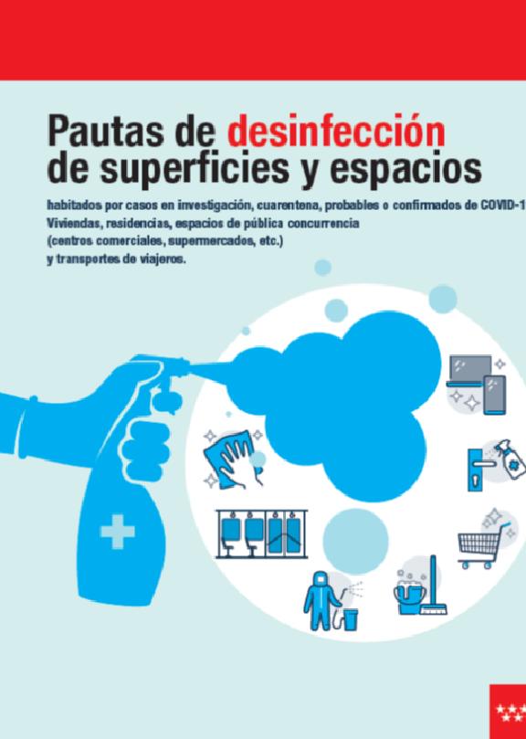 Portada de la 7ª edición del documento Pautas de desinfección de superficies y espacios con coronavirus