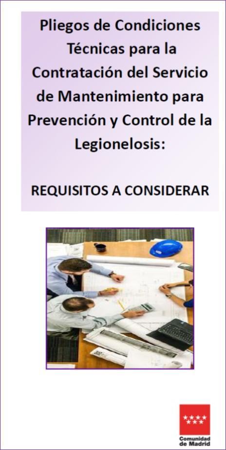Imagen de la portada de la publicación Pliegos de condiciones técnicas para la contratación del servicio de mantenimiento para la Prevención y Control de la Legionelosis: Requisitos a considerar