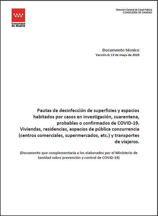 Portada de la publicación Pautas de desinfección de superficies y espacios habitados por personas con coronavirus