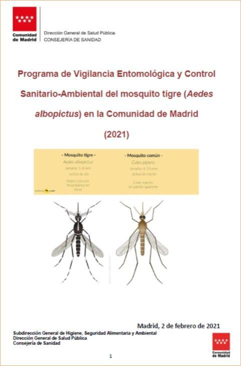 Portada del Programa de Vigilancia entomológica y control sanitario-ambiental del mosquito tigre 2021