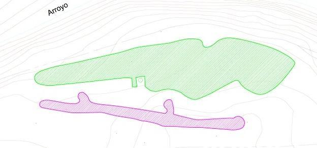 Imagen de esquema de la actuación En verde área con vestigios romanos y en morado trazado de las trincheras de la Guerra Civil