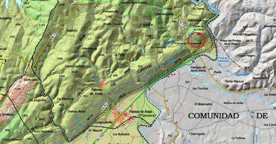 Imagen de la situación del yacimiento de la Dehesa de la Oliva