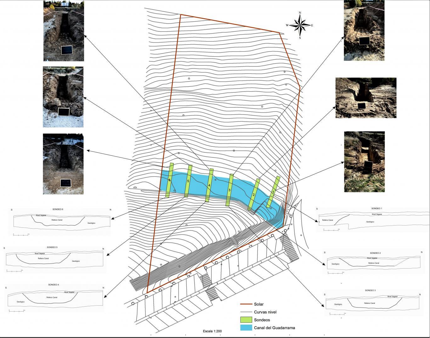 Disposición de los sondeos en el yacimiento El Montecillo