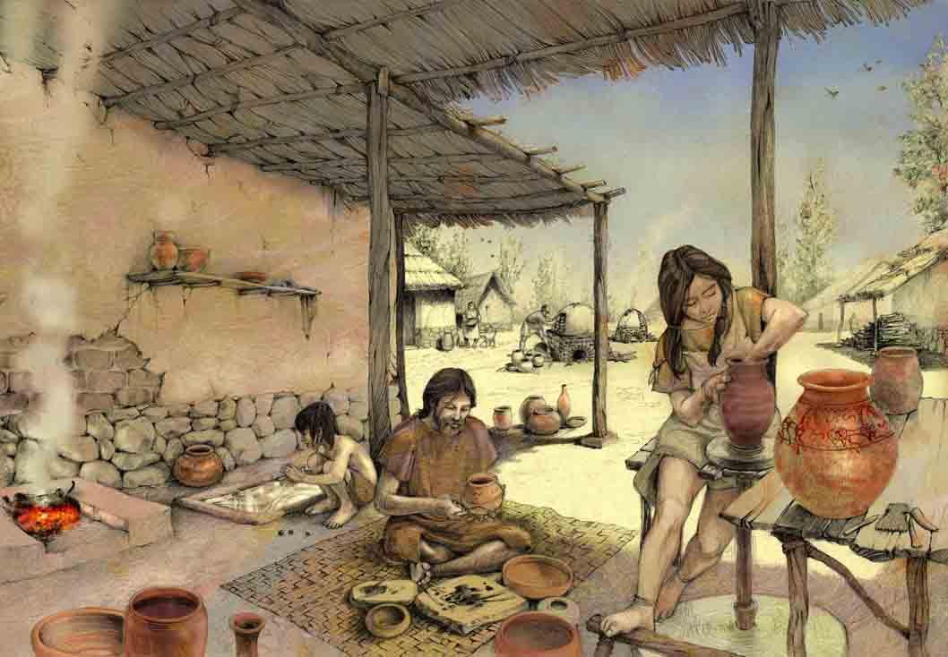 Imagen recreación de la vida cotidiana del poblado del asentamiento del Llano de la Horca