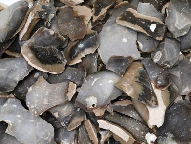 Imagen de desechos de talla recuperados en uno_de los pozos