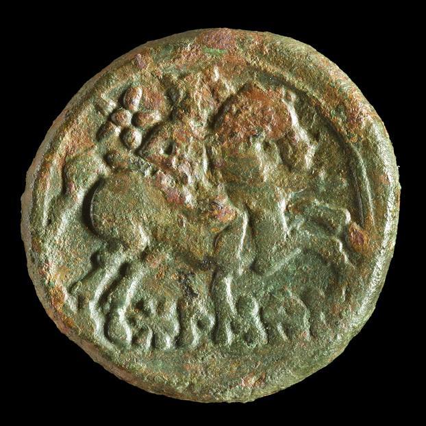Imagen Moneda celtibérica de la ceca de Bolskan (Huesca) documentada durante las excavaciones arqueológicas