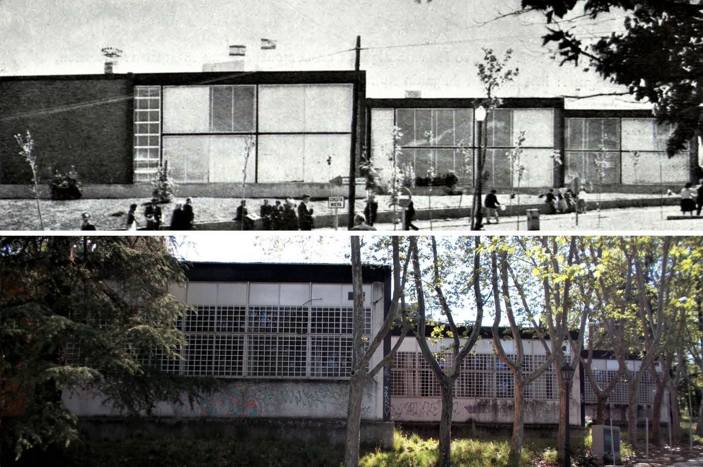Comparison image of the appearance of the rear facades of the Pavilion of the National Housing Institute in 1959