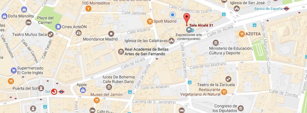Detalle de un mapa de Google Maps donde se ubica la Sala Alcalá 31