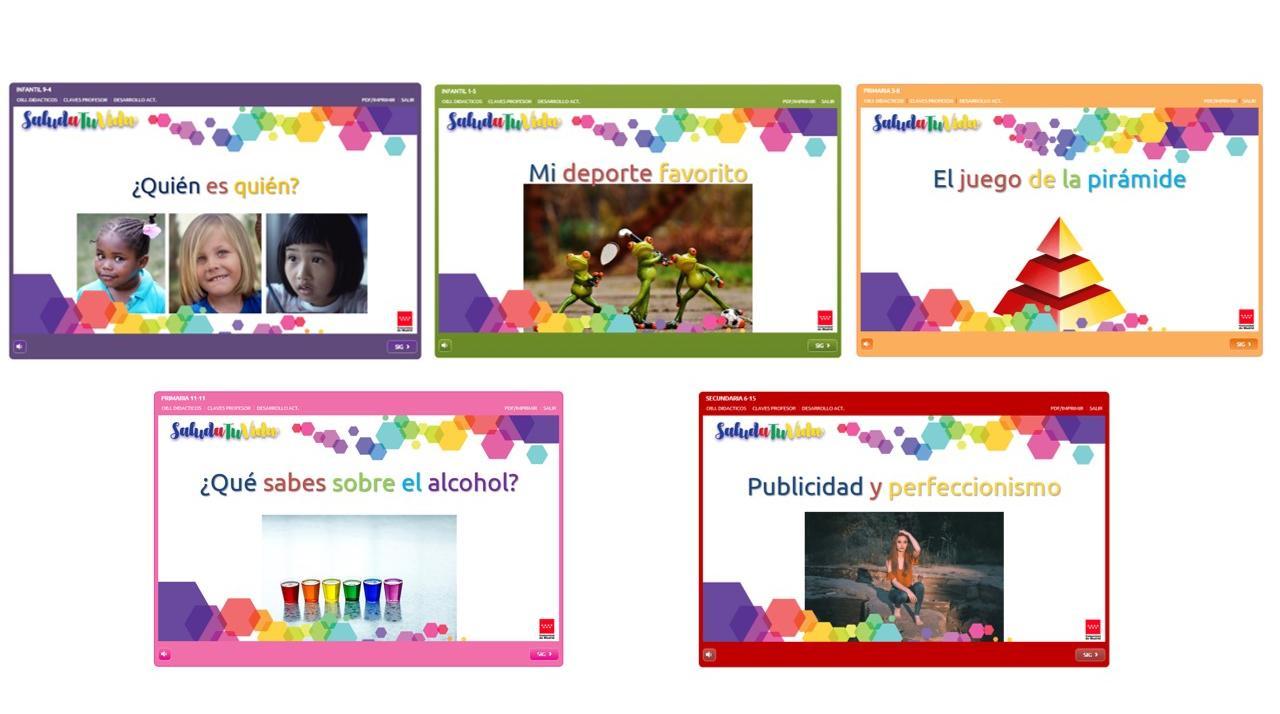 portada de 5 actividades con sus títulos en colores