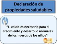 Declaración saludable sobre el calcio: El calcio es necesario para el crecimiento y desarrollo normales de los huesos de los niños