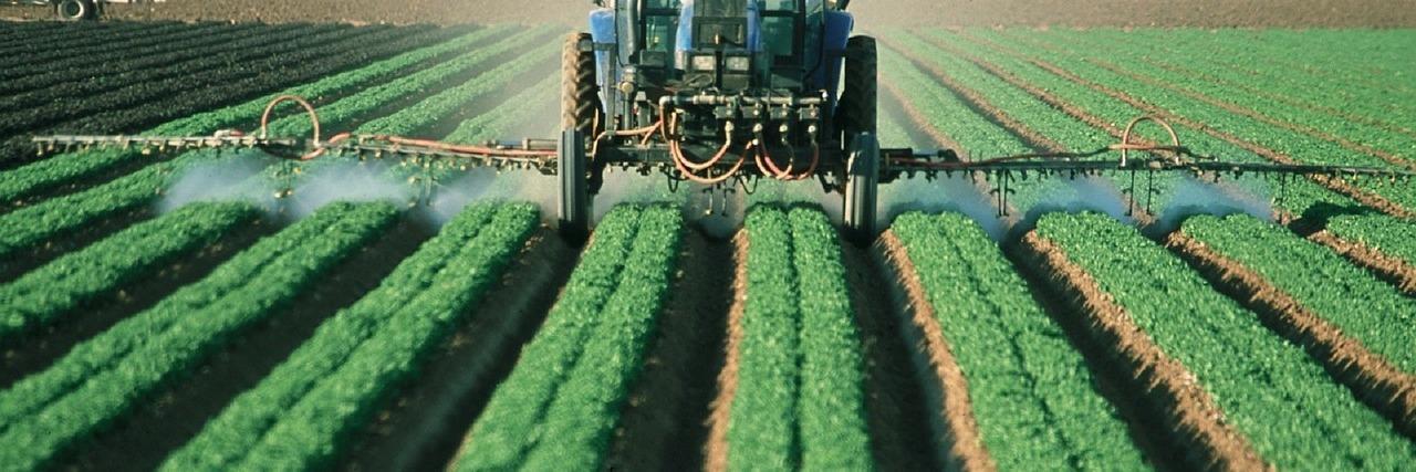 Máquina aplicando plaguicidas en un cultivo