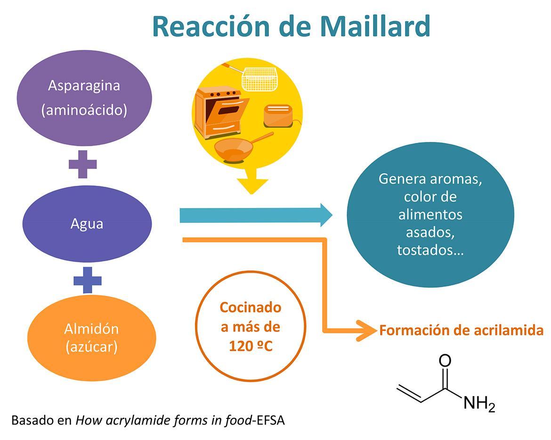Gráfico sobre la formación de acrilamida en alimentos al aplicar calor