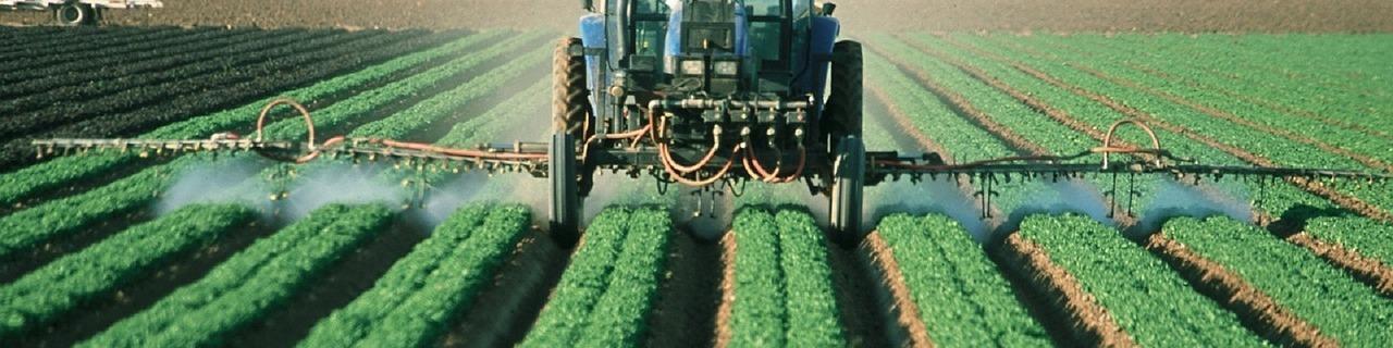 Máquina aplicando plaguicidas en una cosecha